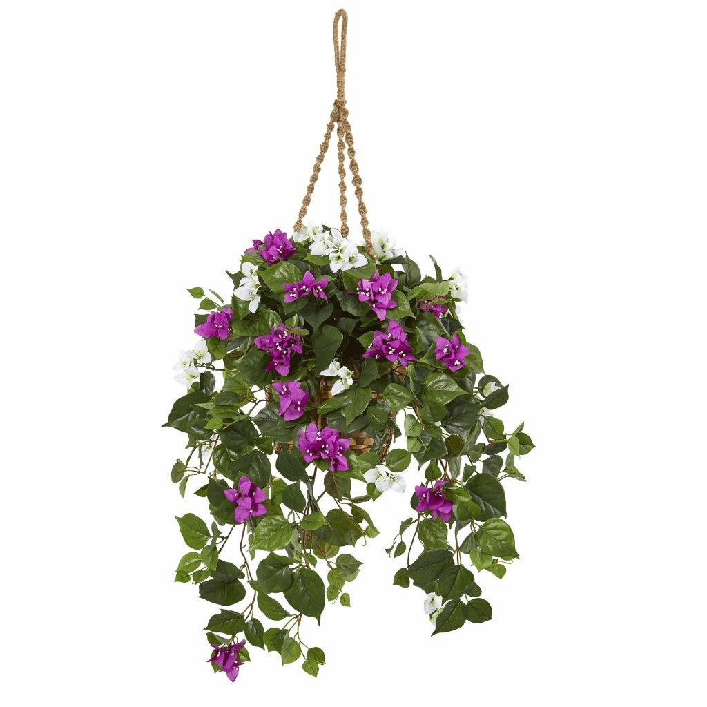 30� Mixed Bougainvillea Artificial Plant Hanging Basket