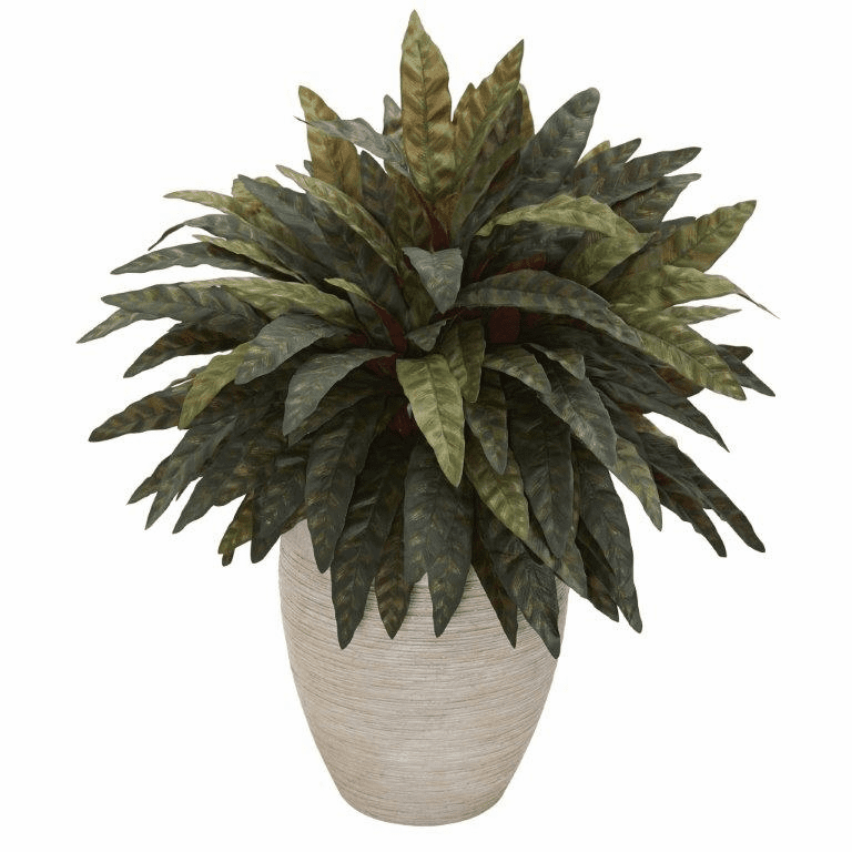 "30"" Peacock Artificial Plant in Sand Colored Oval Planter"