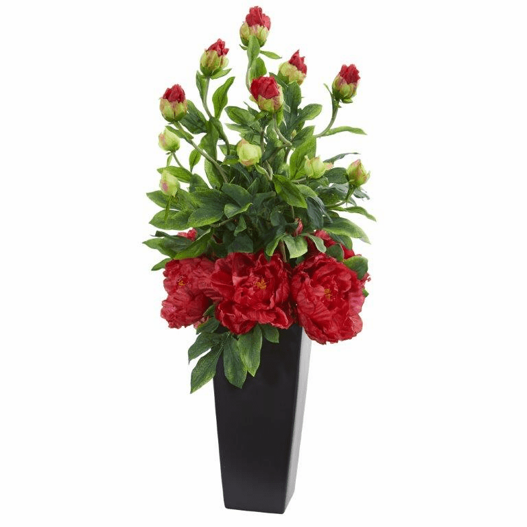 "30"" Peony Artificial Arrangement in Black Vase - Red"