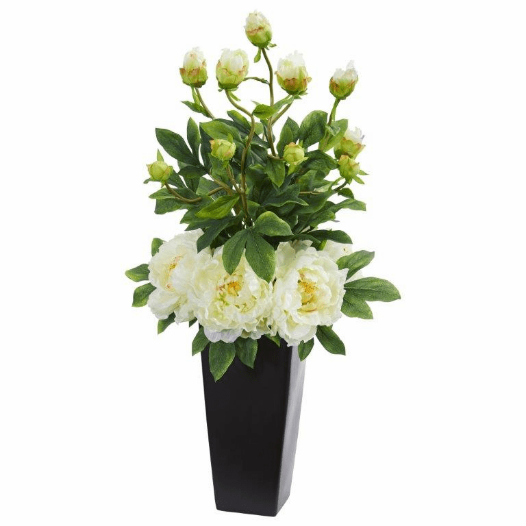 "30"" Peony Artificial Arrangement in Black Vase - White"
