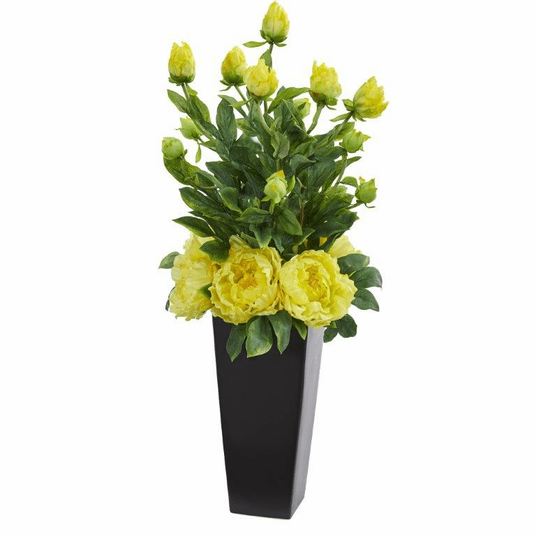 "30"" Peony Artificial Arrangement in Black Vase - Yellow"
