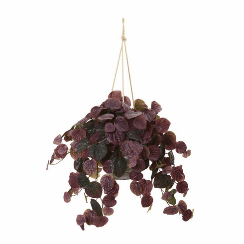 "30"" Peperomia Artificial Plant in Hanging Bucket (Real Touch) - Burgundy"