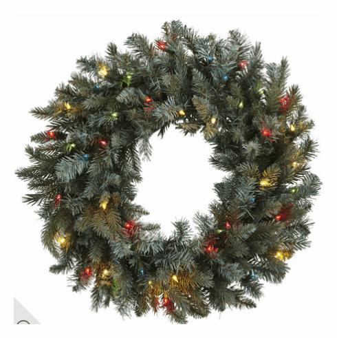 "30"" Pine Wreath w/Colored Lights"