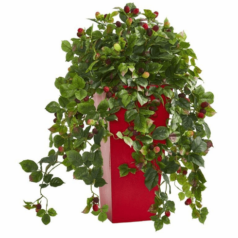 """30"""" Rasberry Artificial Plant in Red Tower Planter"""