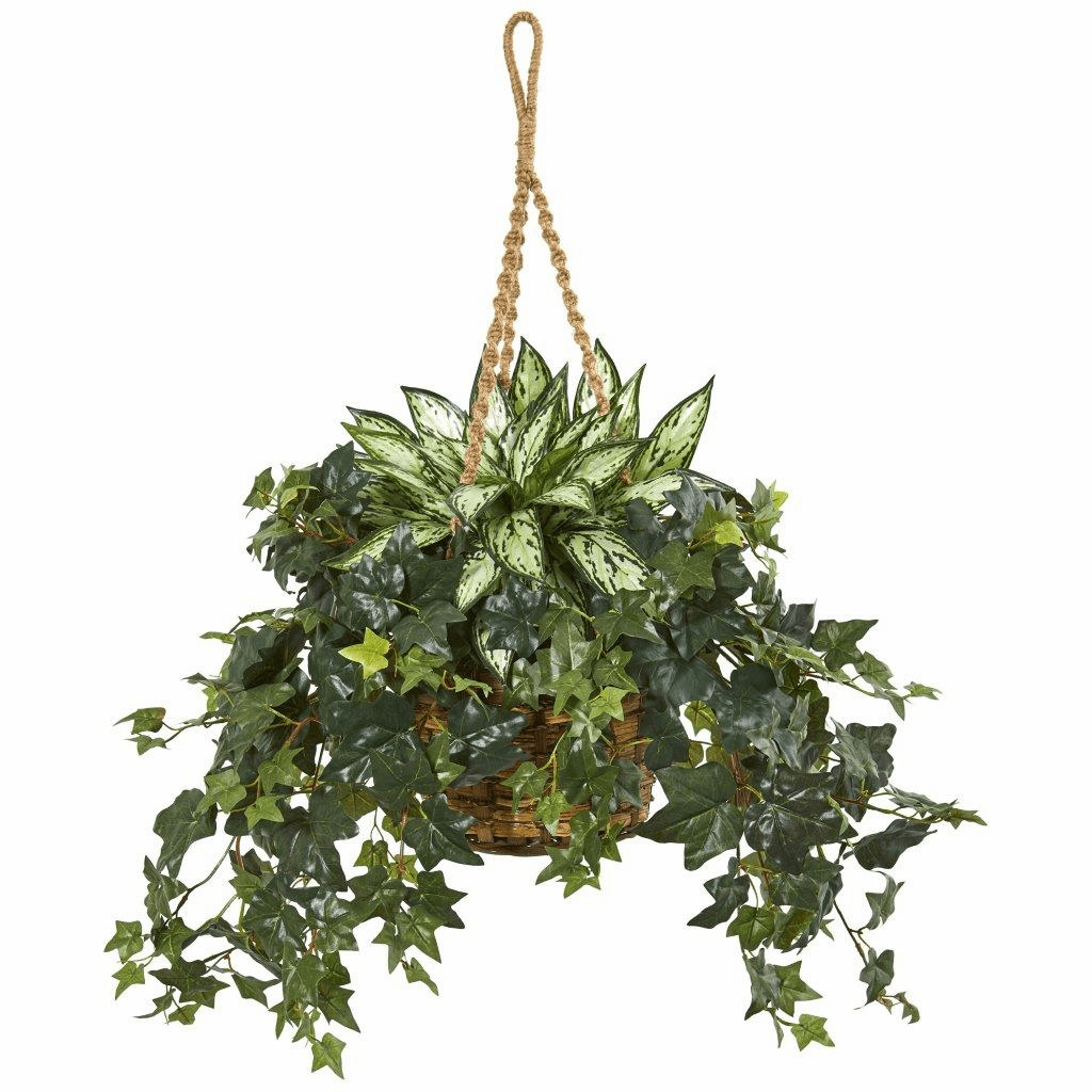 30� Silver Queen and Ivy Artificial Plant in Hanging Basket