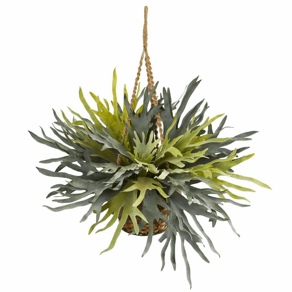 "30"" Staghorn Hanging Basket Artificial Plant"