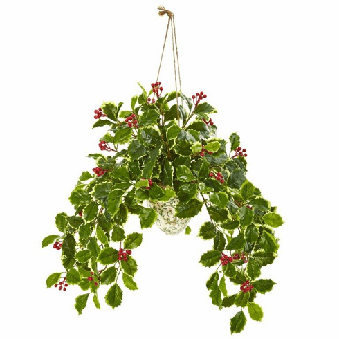 """30"""" Variegated Holly Berry Artificial Plant in Hanging Vase (Real Touch)"""