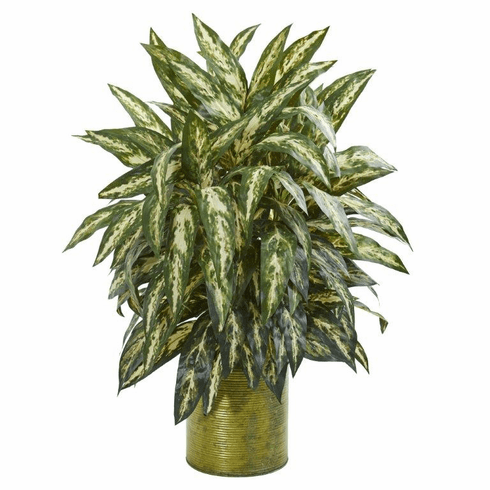 "31"" Aglonema Artificial Plant in Metal Planter"