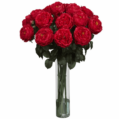 "31"" Artificial Fancy Rose Silk Flower Arrangement - Red"
