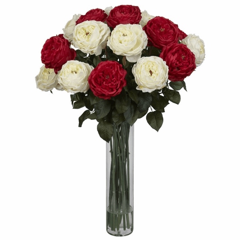 "31"" Artificial Fancy Rose Silk Flower Arrangement - Red/White"
