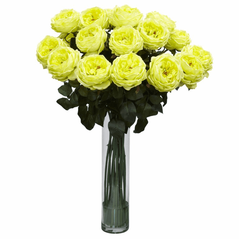 "31"" Artificial Fancy Rose Silk Flower Arrangement - Yellow"