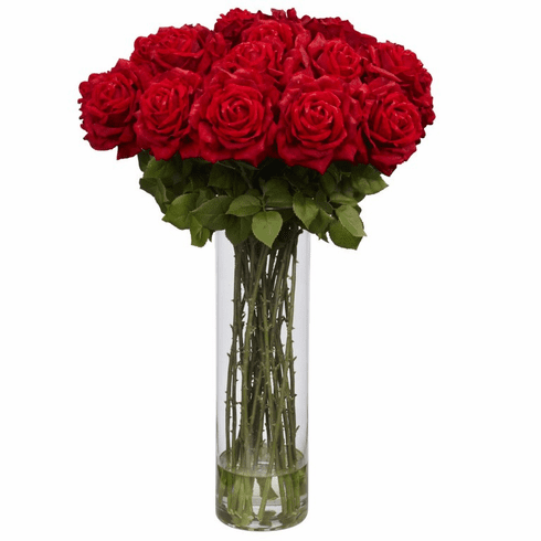 "31"" Artificial Giant Rose Silk Flower Arrangement in Vase"