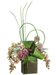 "31"" Artificial Phalaenopsis Orchid Flowers, Bird Nest Fern, Bamboo Reeds in Cube Container"