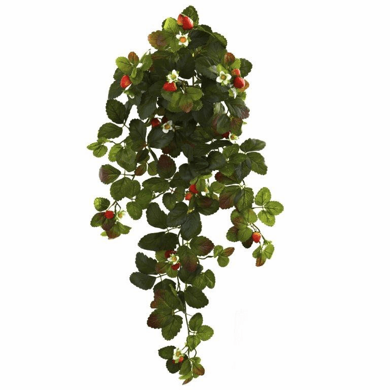 "31"" Artificial Strawberry Hanging Bush with Berry (Set of 2) - Non Potted"