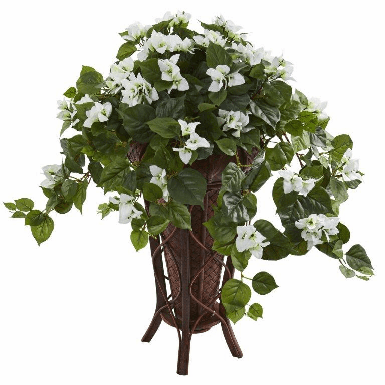 "31"" Bougainvillea Artificial Plant in Stand Planter - White"