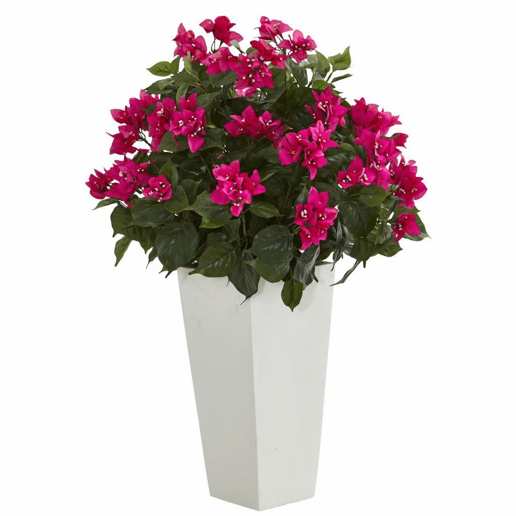 "31"" Bougainvillea Artificial Plant in White Tower Planter"