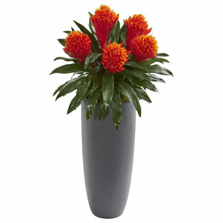 31� Bromeliad Artificial Plant in Gray Planter