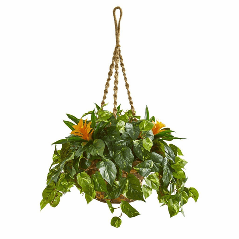 "31"" Bromeliad & Pothos Artificial Plant in Hanging Basket"