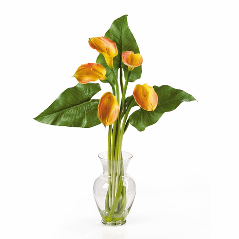 "31"" Calla Lilly Liquid Illusion With Leaves Silk Flower Arrangement"