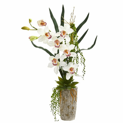 "31"" Cymbidium Orchid Artificial Arrangement in Planter - White"
