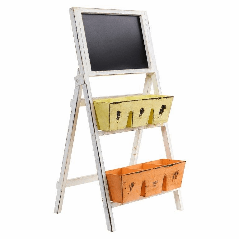 31� Farmhouse Multipurpose Bin and Chalkboard Stand - N/A