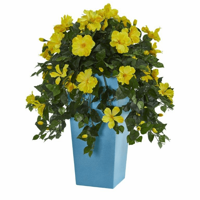 31�� Hibiscus Artificial Plant in Turquoise Tower Vase