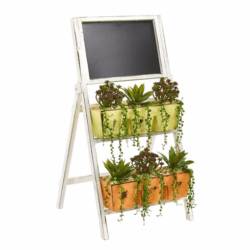 """31"""" Mini Agave & Succulent Artificial Plant in Farmhouse Stand with Chalkboard"""