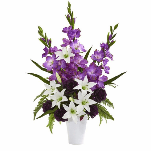 "31"" Mixed Flowers Artificial Arrangement in White Vase - Purple"