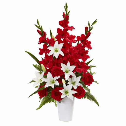 "31"" Mixed Flowers Artificial Arrangement in White Vase - Red"