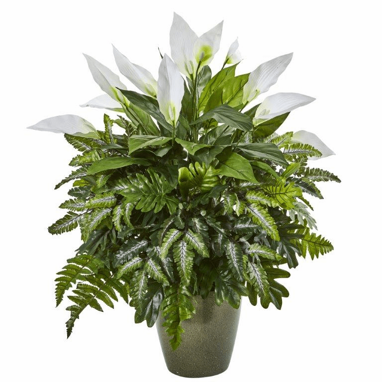 31� Mixed Spathiphyllum Artificial Plant in Green Planter