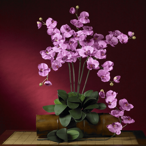"""31"""" Phalaenopsis Silk Orchid Flower w/Leaves (Set of 6 Stems - Non Potted) - Mauve"""