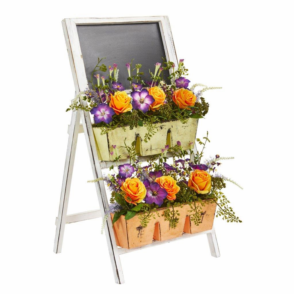 31� Roses & Morning Glory Artificial Arrangement in Farmhouse Stand with Chalkboard