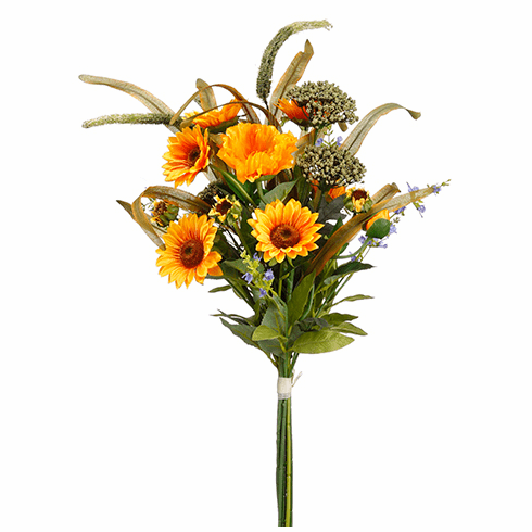 "31"" Silk Sunflower, Poppy and Artificial Yarrow Bouquet Arrangement - Set of 6"