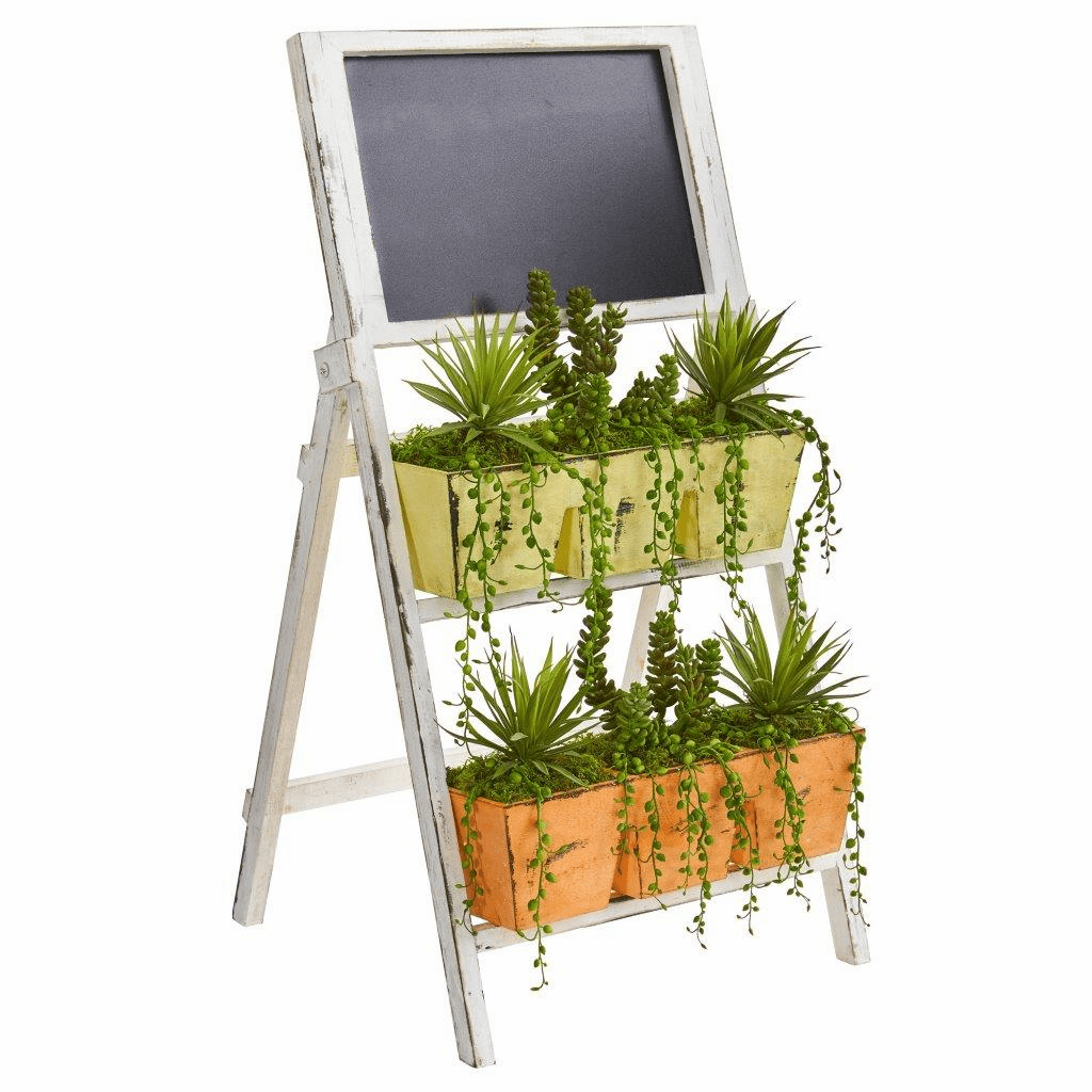 31� Succulent Garden Artificial Plant in Farmhouse Stand with Chalkboard