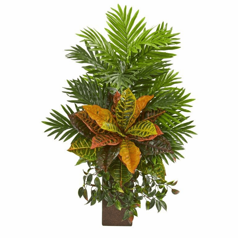 32� Areca Palm and Croton Artificial Plant in Weathered Vase