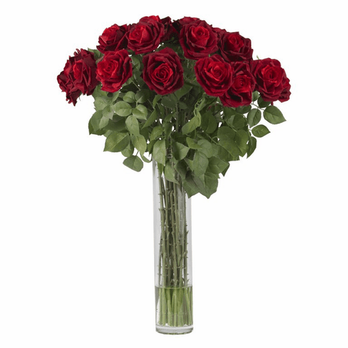 "32"" Artificial Large Rose Silk Flower Arrangement in Vase"