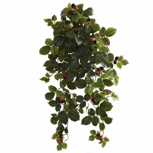 "32"" Artificial Raspberry Hanging Bush with Berry (Set of 2) - Non Potted"