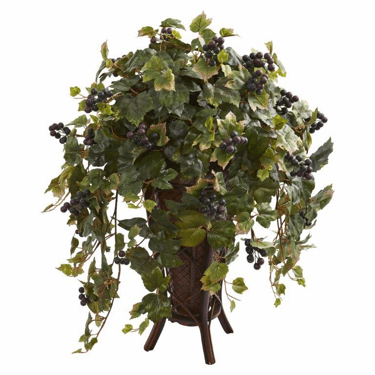"32"" Grape Leaf Artificial Plant in Stand Planter"