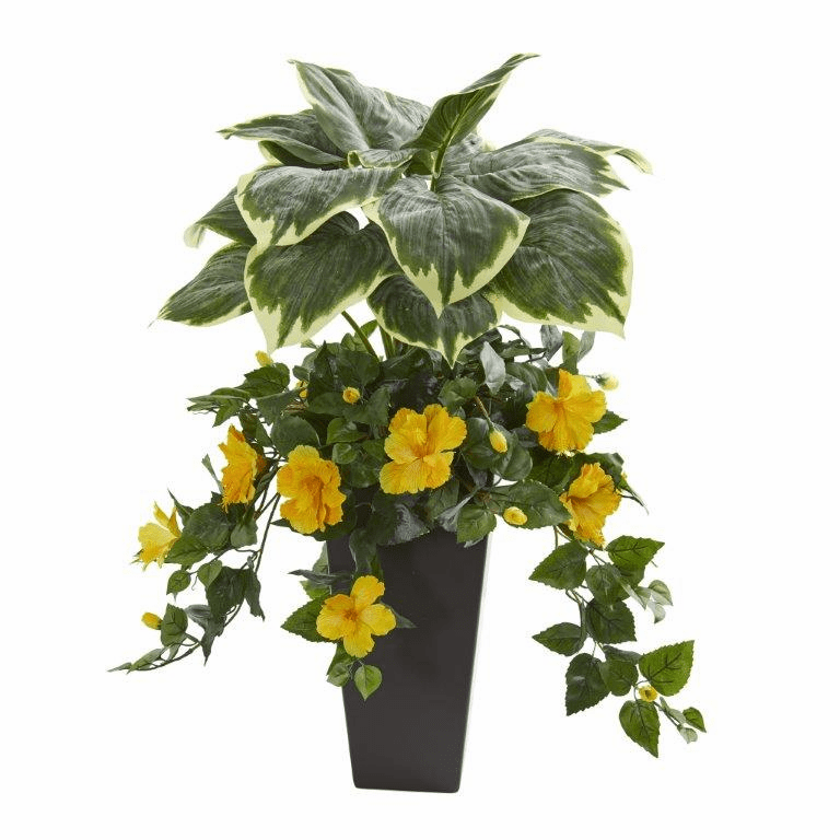 32� Hosta and Hibiscus Artificial Plant in Black Vase