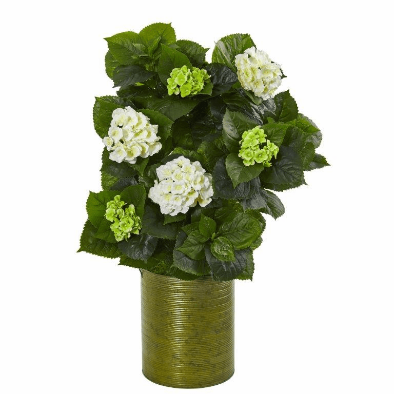 32� Hydrangea Artificial Plant in Metal Green Planter