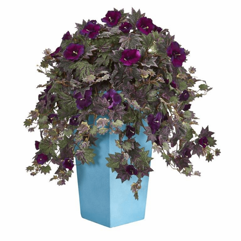 "32"" Morning Glory Artificial Plant in Turquoise Planter"