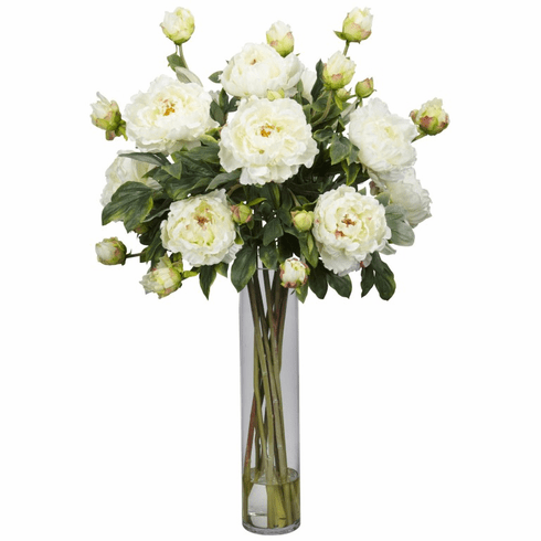 "32"" Peony in Cylinder Silk Flower Arrangement - White"