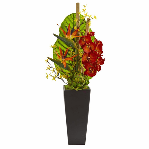 "32"" Tropical Orchid, Bird of Paradise and Artichoke Artificial Arrangement"