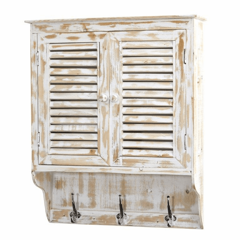 32� White Washed Wall Cabinet with Hooks - N/A