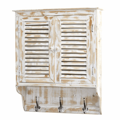 "32"" White Washed Wall Cabinet with Hooks - N/A"