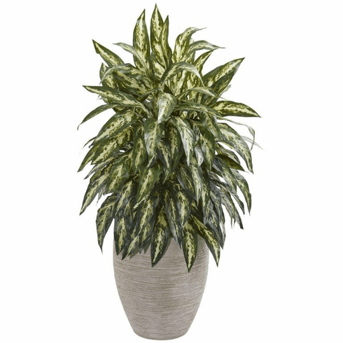 "33"" Aglonema Artificial Plant in Sand Colored Planter"