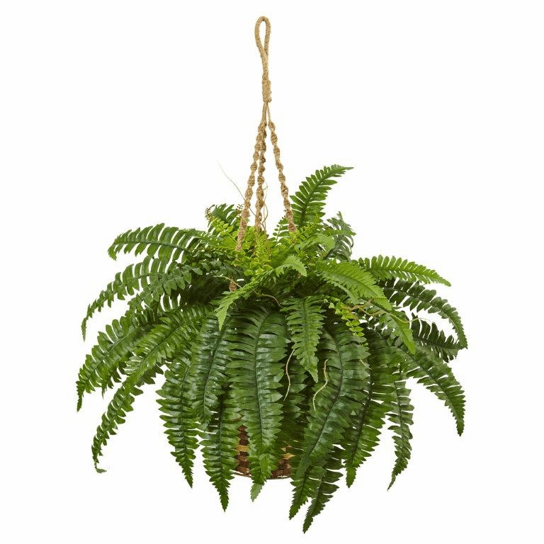 "33"" Artificial Boston Fern Hanging Bush in Basket"