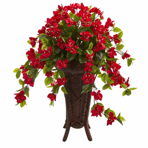 "33"" Bougainvillea Artificial Plant in Stand Colored PlanterPlanter"