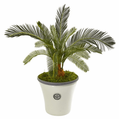 "33"" Cycas Artificial Plant in White Planter"