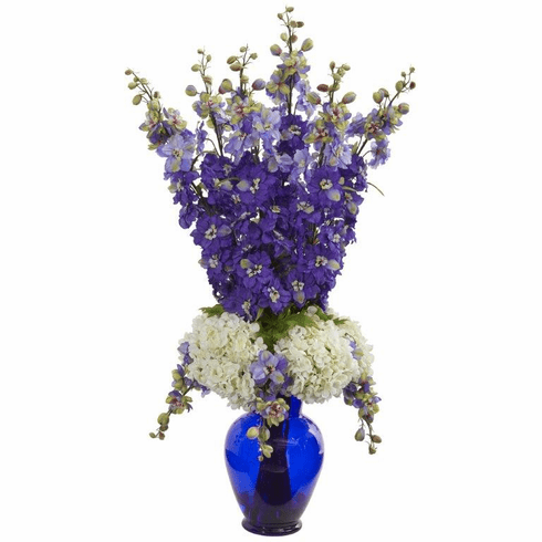 "33"" Delphinium and Hydrangea Artificial Arrangement in Blue Vase - Purple"